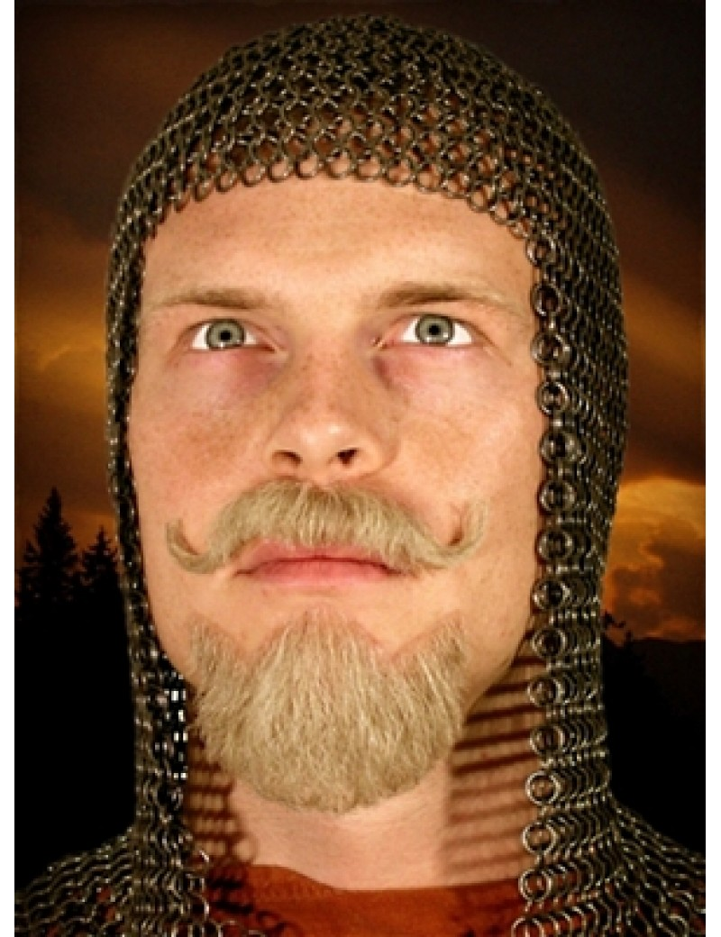 Knight Medieval Tudor real hair professional theatrical goatee beard and moustache set Metamorph 103726
