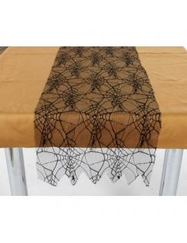 Lace Spiderweb black table runner Halloween dinner party Creative Collection AT12615