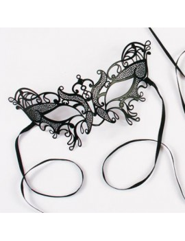 Laser cut black ornate metal masquerade eye mask costume party Palmers 0770