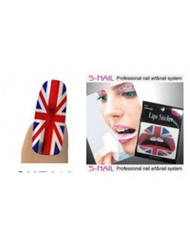 Lip Tattoo Sticker and nail foils Union Jack British supporter  red white blue Creative T2100