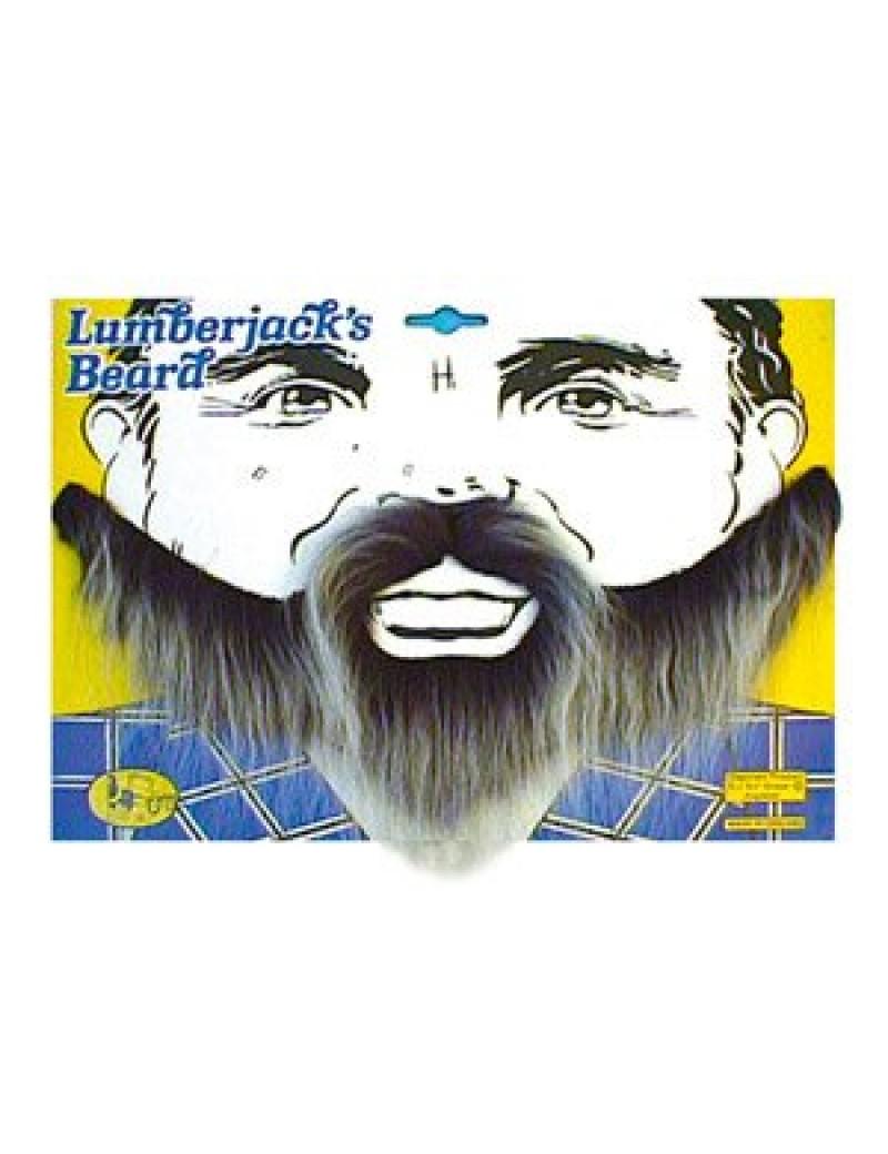 Lumberjack fancy dress costume party mens full elasticated beard grey Bristol Novelty MB003
