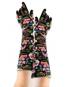 Mexican Day Of The Dead long gloves Bristol Novelty X74673