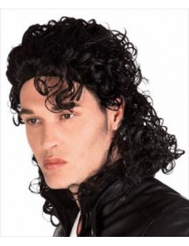 Michael Jackson 80s Thriller Halloween popstar fancy dress costume theatrical mens curly wig Palmer Agencies 5309A