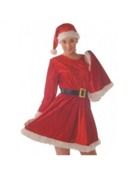 Miss Santa 4 piece red polyester velvet plush ladies Christmas fancy dress costume party Creative Collection C6051