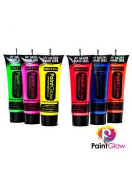 Neon UV activated hair spike gel SET OF 6 80s festival fancy dress costume party Paintglow