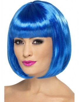 Partyrama 60s short bob 80s  womans  wig blue Smiffys 42400