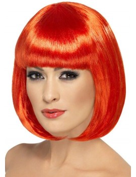 Partyrama 60s short bob 80s  womans  wig red Smiffys 42390