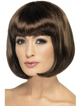 Partyrama 60s short bob ladies costume party flapper 1920s wig brown Smiffys 42394