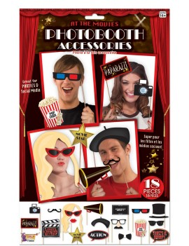 Photo booth selfie card picture  costume party props at the movies Hollywood 18 pack accessory set Bristol Novelty X75904