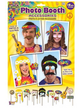 Photo booth selfie card picture ostumeprops 60s groovy hippys hippies 18 pack accessory set Bristol Novelty X75903