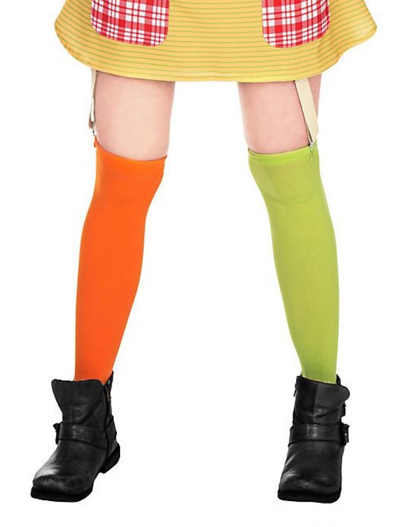 Pippi Longstocking book day official Green and Orange stockings Small - Large Mask World 131047