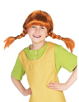 Pippi Longstocking ginger plaited book day character fancy dress costume party girls wig Mask world 131050