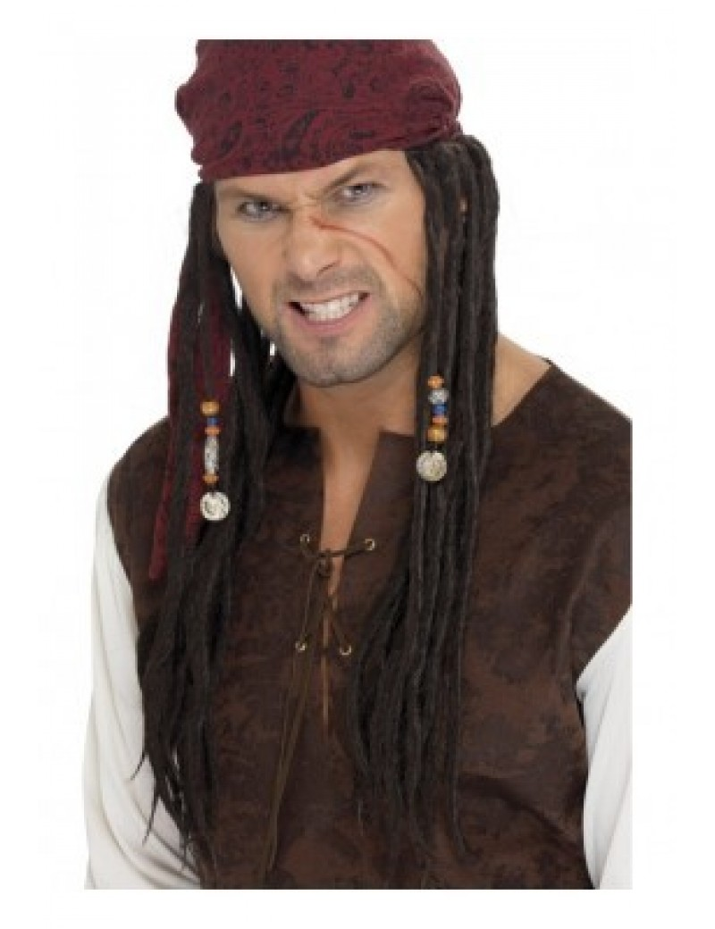 Pirate Captain mens fancy dress wig with bandana scarf Smiffys 42078