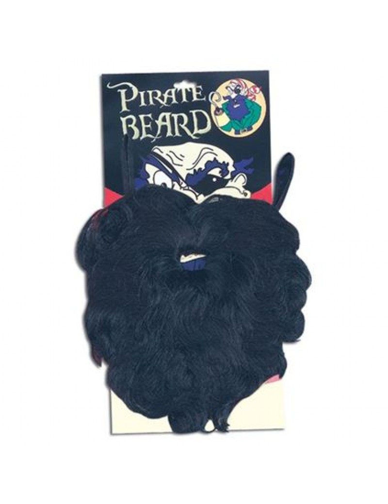 Pirate mens fancy dress costume party elasticated large beard wavy black Bristol Novelty MB050