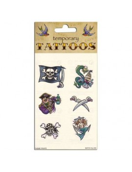 Pirate Temporary Tattoos Set Bristol Novelty GJ274