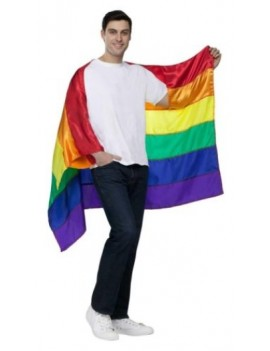 Pride cape adult satin multicoloured polyester mens fancy dress costume party festival Palmer Agencies 6277