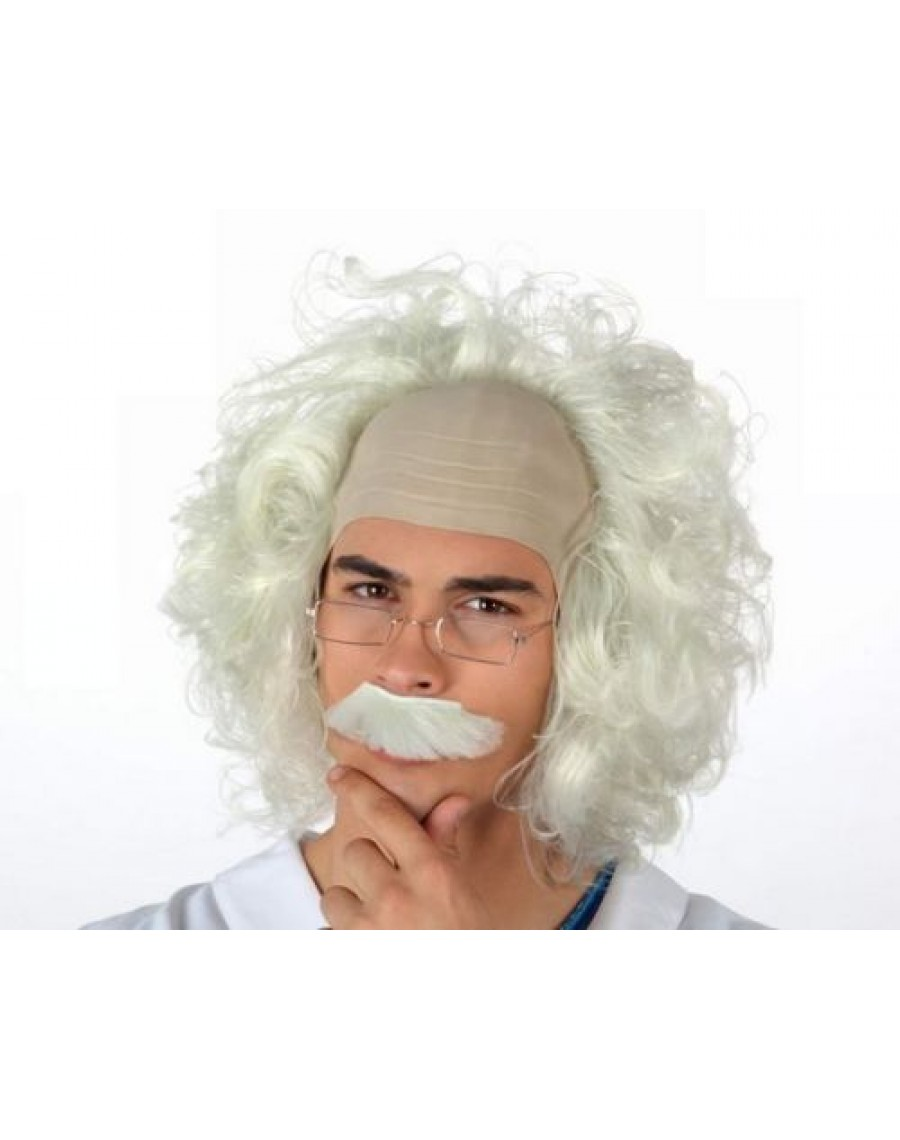 Adult CRAZY SCIENTIST Wig Moustache Set Albert Einstein Professor Fancy Dress