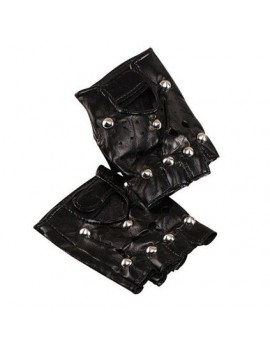 Studded Punk Fingerless Gloves