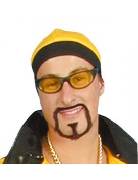 Rapstar Goatee false stick on Ali beard black fancy dress retro 90s costume party Pams Of Gainsborough 1456001