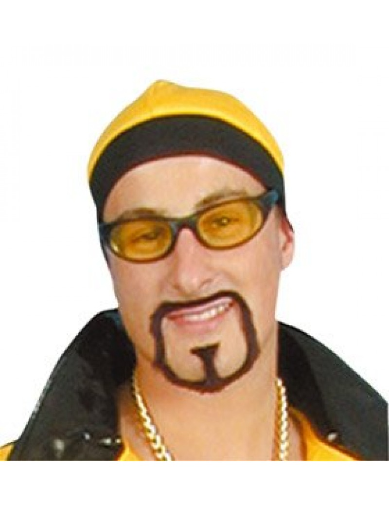 Rapstar Goatee false stick on Ali beard black fancy dress retro 90s costume party Pams Of Gainsborough 1456001