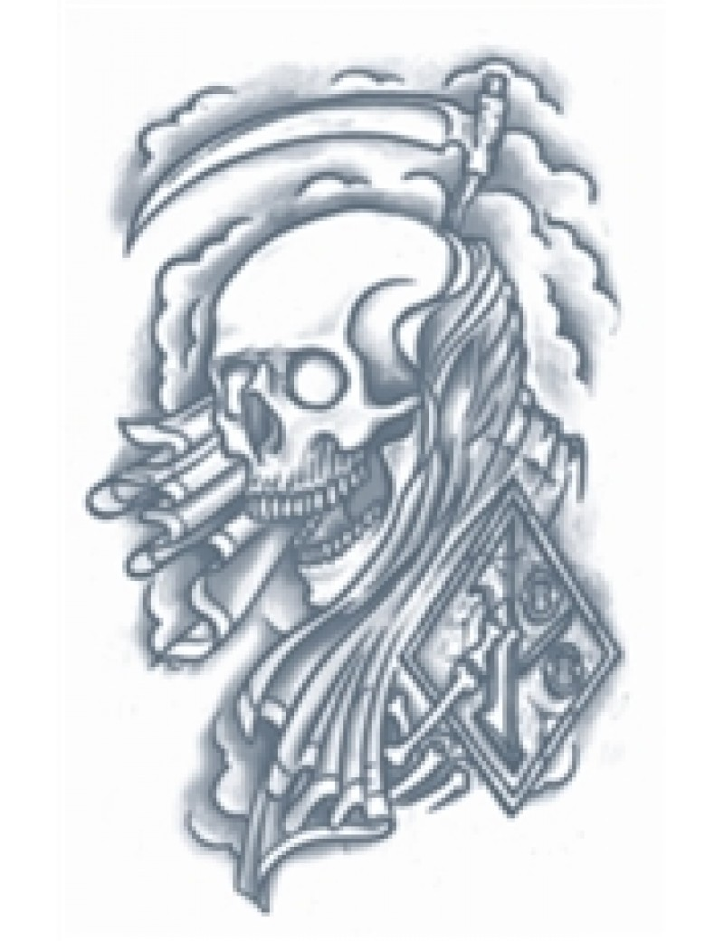 Prison reaper skull temporary tattoo Tinsley Transfers PR-312