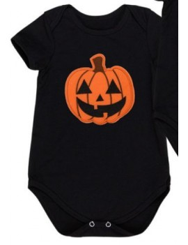 Romper Pumpkin black Halloween costume