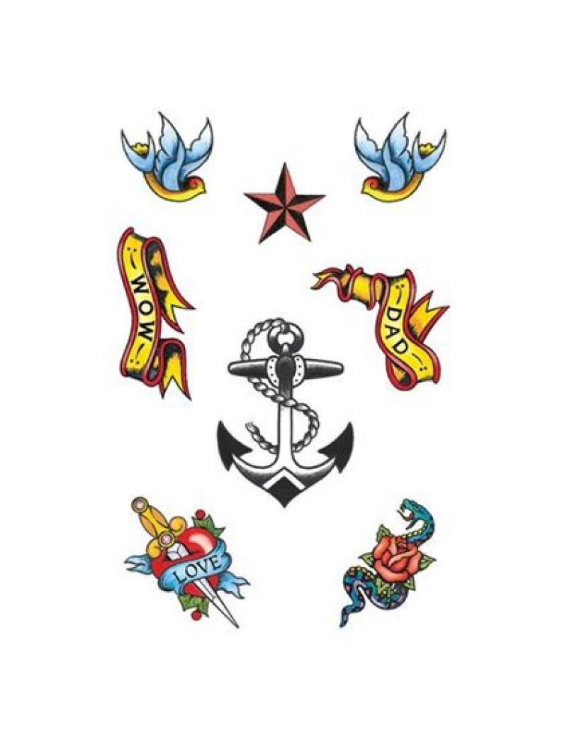 Sailor temporary tattoo character fancy dress costume nautical party accessory set Tattoo You GJ280