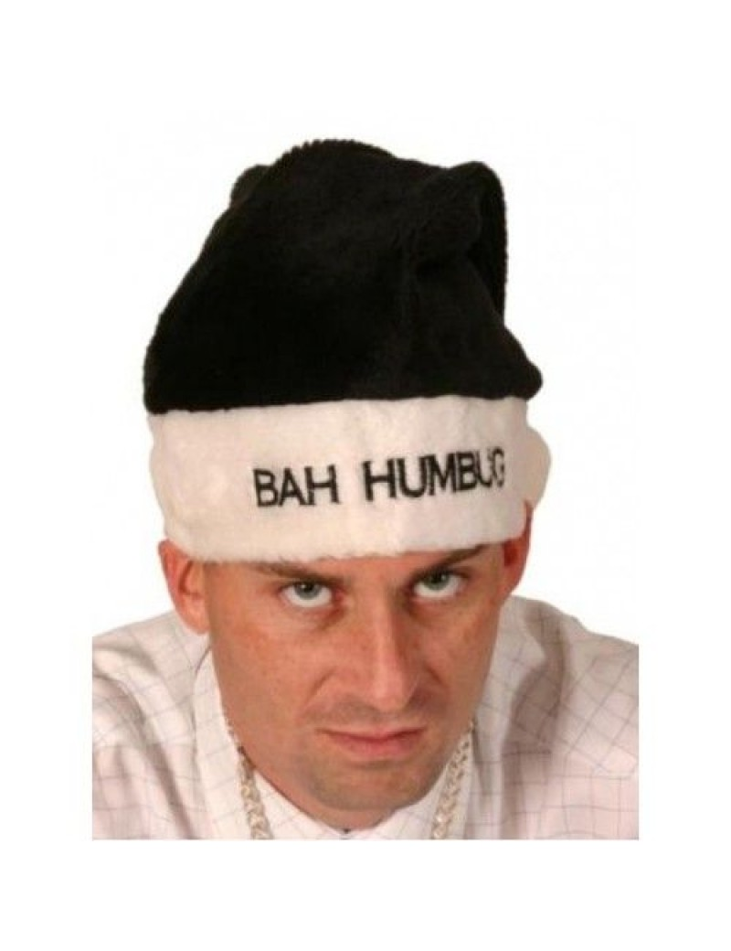 Santa Christmas bah humbug black hat with fur trim fancy dress costume office party Creative Collection H6607