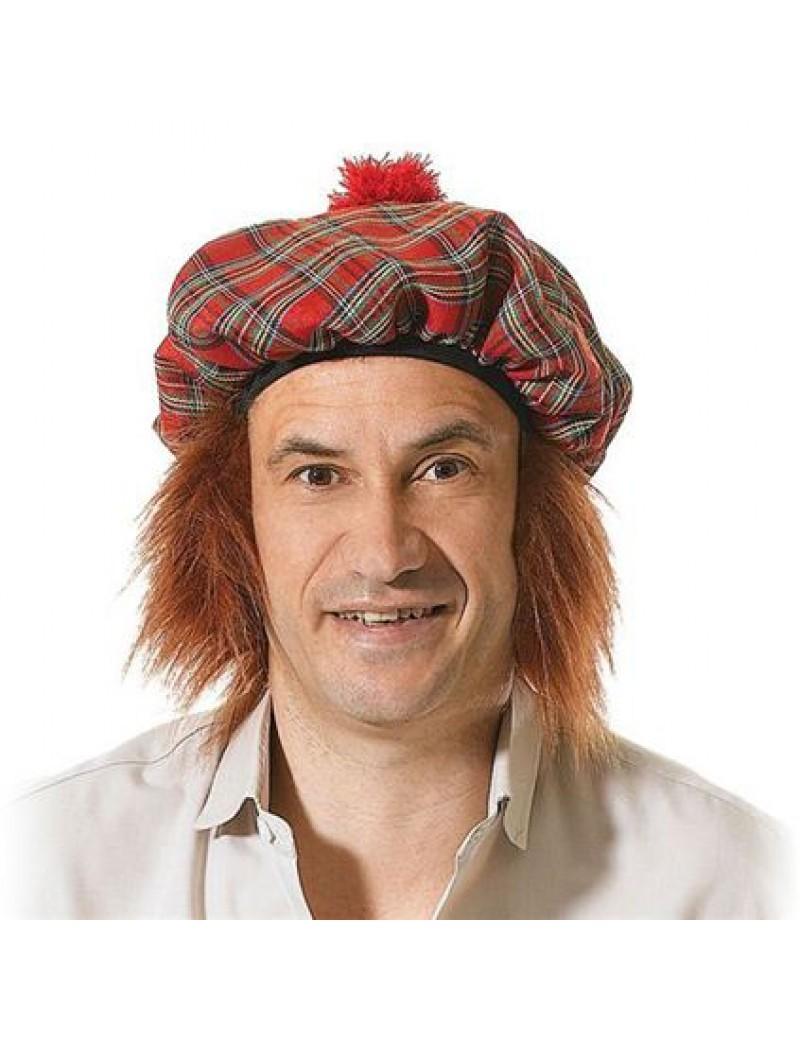 Scottish tartan tam oshanta  Burns Night costume party hat with ginger hair Bristol Novelty BH154