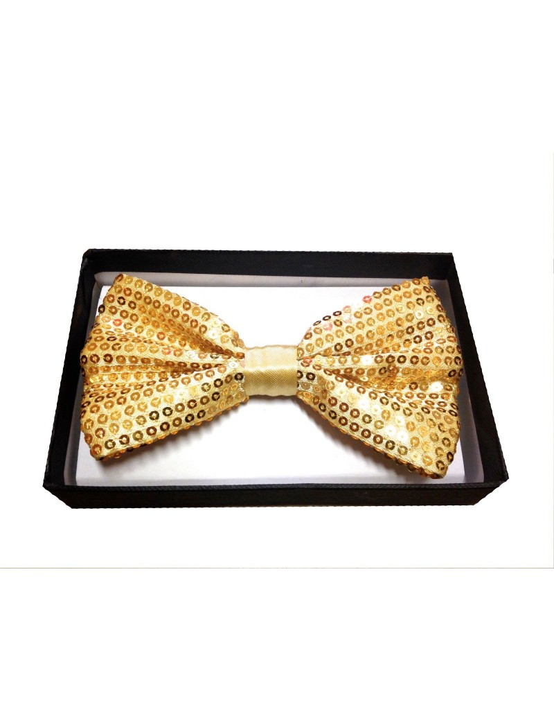 Sequin Gold Bow Tie mens boys Christmas office party menswear  accessory 50012