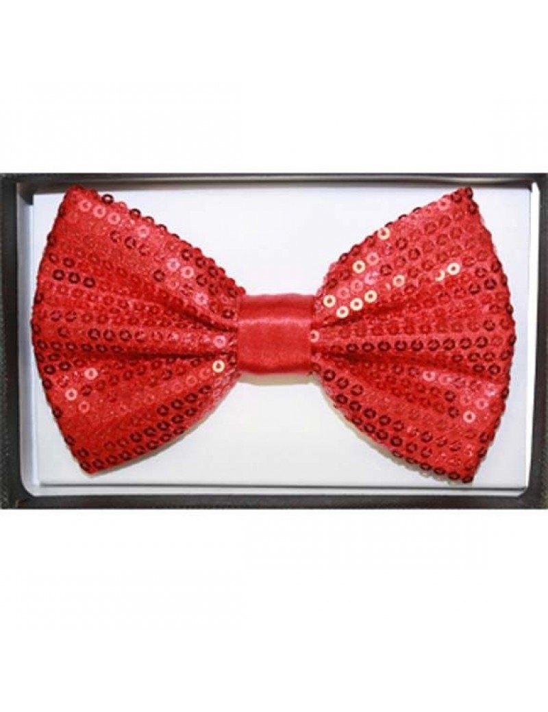 Sequin bow tie red 50011