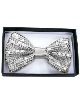 Sequin Silver Bow Tie