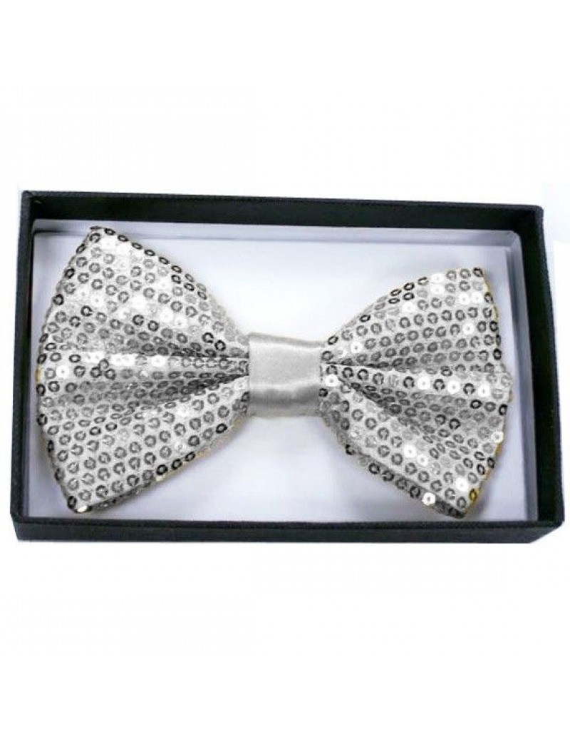 Sequin Silver Bow Tie mens boys Christmas office party menswear  accessory 50010