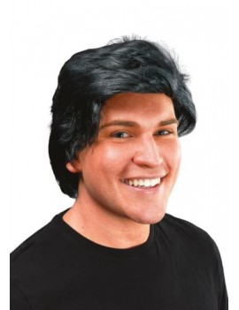 Side parting fancy dress adults kids 70s 80s  wig black  Bristol Novelty BW465