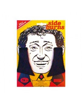 Sideburns self adhesive stick on false self adhesive black mens fancy dress 70s costume party Bristol Novelty MB007