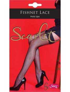 Silky Scarlet Black lace top hold up Stockings accessory Period Vintage theatrical hosiery 84748