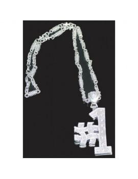Silver chunky bling no 1 metal chav chain jewellery Folat FO-07604