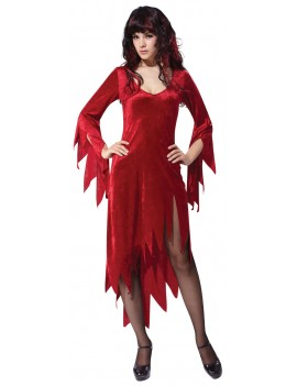 Siren Vampire devil dress burgundy red ladies girls Halloween fancy dress costume party Bristol Novelty AC786