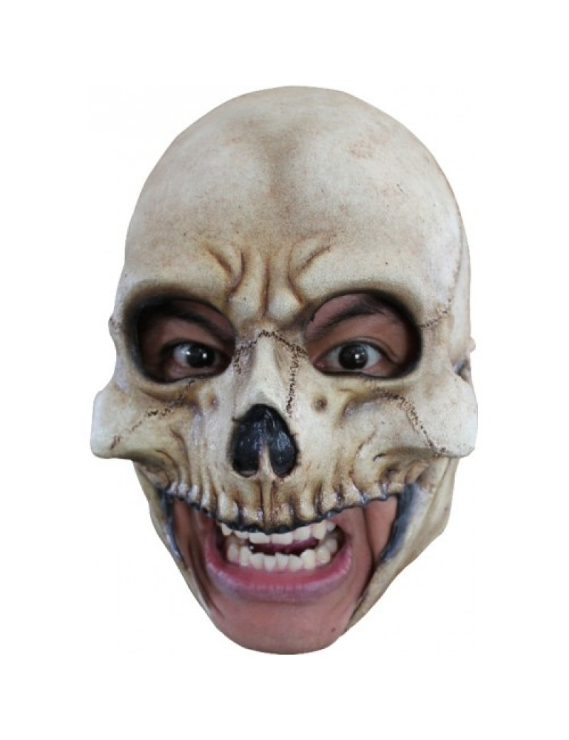 Skeleton skull full over head rubber chin strap mens halloween mask Ghoulish Productions GH-27502