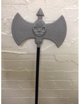 Skull Axe spear grey plastic Halloween prop weapon fancy dress costume party Creative Collection E8315