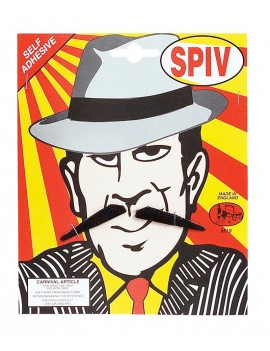 Spiv 1920s gangster stick on fake black moustache Bristol Novelty MB057