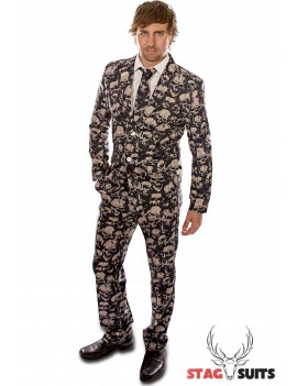 Stagsuits Skeleton Grunge black and tan mens fancy dress Halloween costume