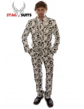 Stagsuits Skeleton Grunge Black and White  mens fancy dress Halloween costume