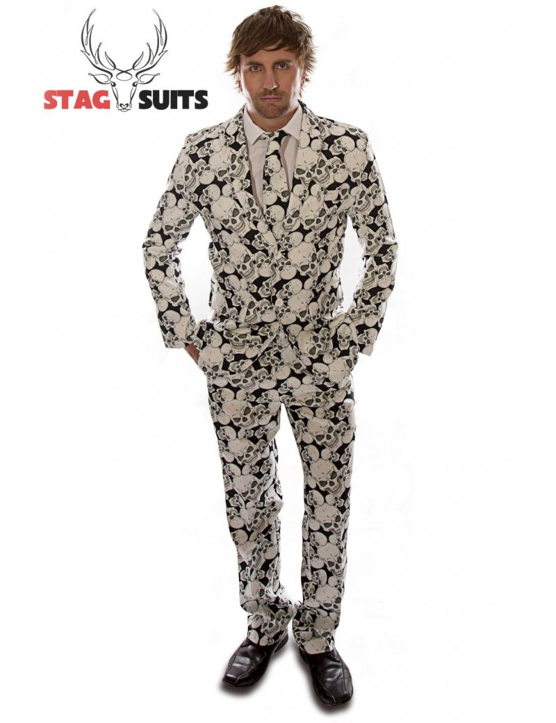 Stagsuits Skeleton Grunge Black and White Adult Halloween Costume