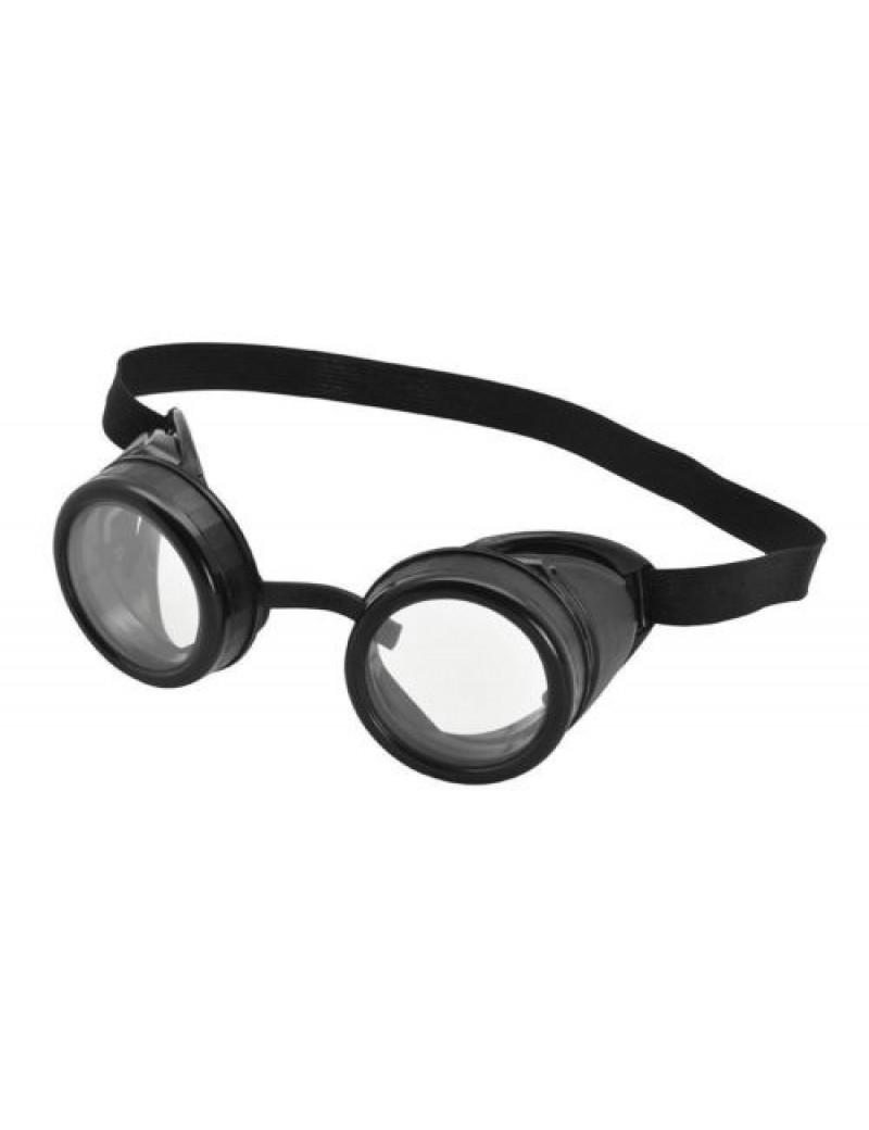 Steampunk aviator pilot fancy dress accessory black frame  goggles Bristol Novelty BA615