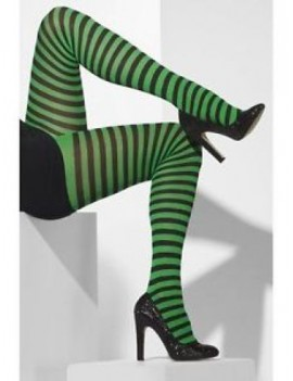 Stripey ringer hooped striped fancy dress costume Halloween pantomime dame party witch tights black and green Smiffys 42722
