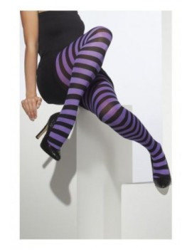 Stripey ringer hooped striped fancy dress costume Halloween party witch tights black and purple Smiffys 42714