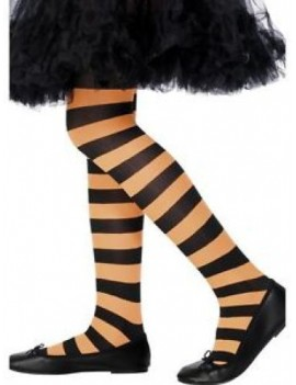 Stripey ringer hooped striped fancy dress  girls costume Halloween party witch tights black and orange Smiffys 22079