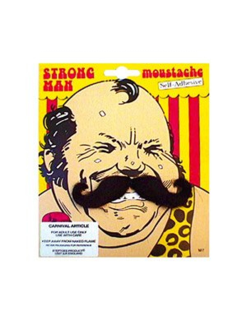 Strongman French stick on false black moustache circus fancy dress Bristol Novelty M7