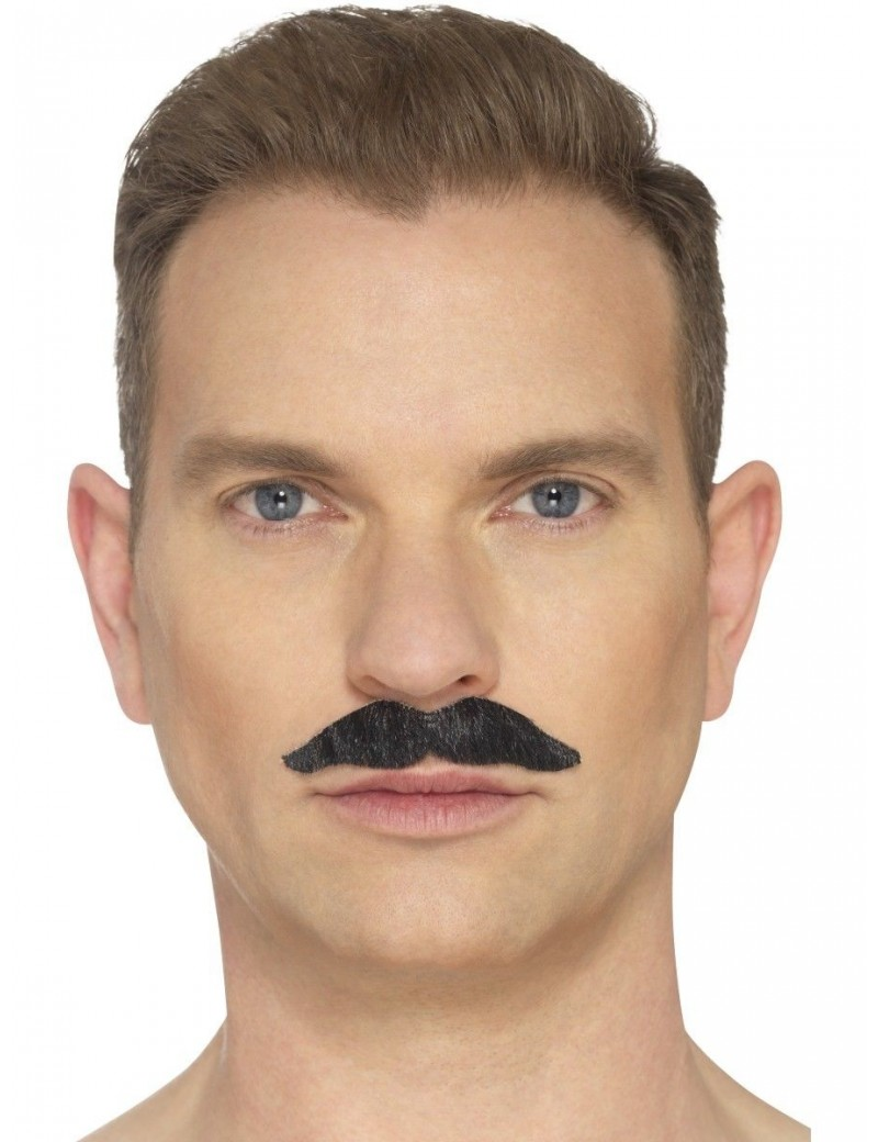 The Professional False fake hand knotted theatrical mens moustache black  Smiffys 44700